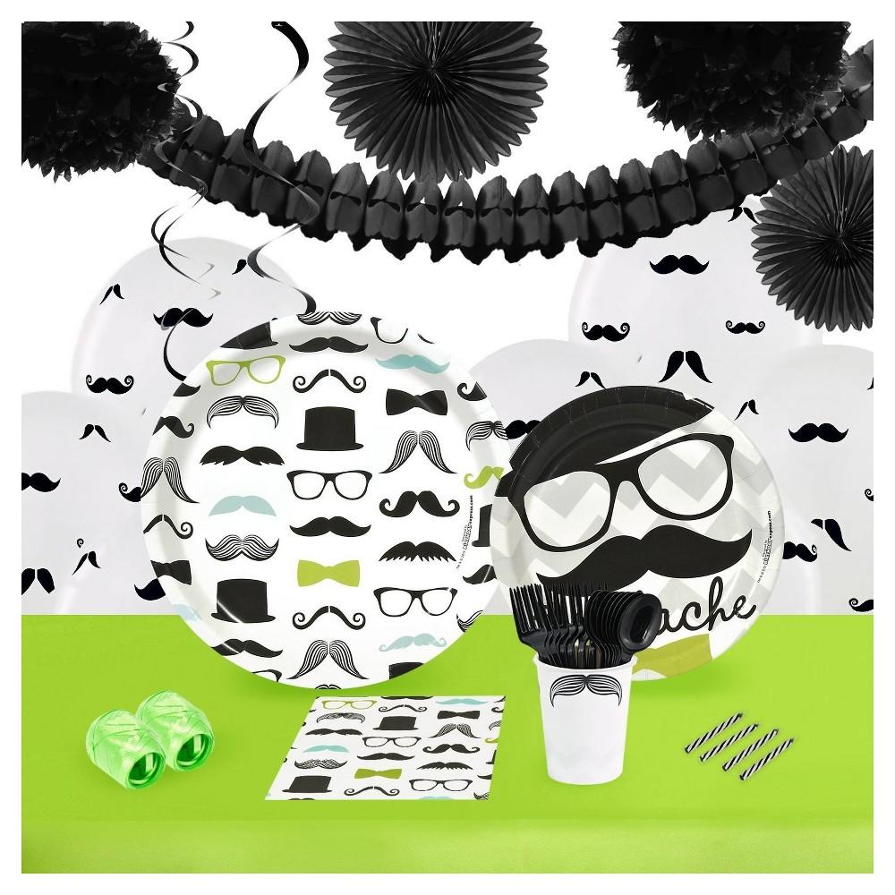 Mustache Man 16 Guest Party Pk with Decoration Kit, Black