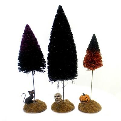 "Department 56 Accessory 11.5"" Festive Halloween Sisals Trees Pumpkin Skull Black Cat  -  Decorative Figurines"