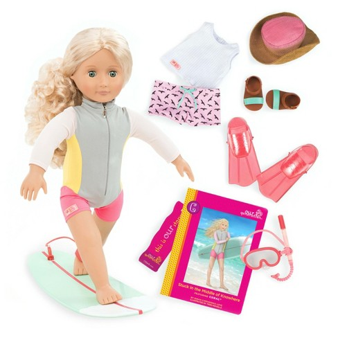 Our Generation Deluxe Surfer Doll With Book Coral Target