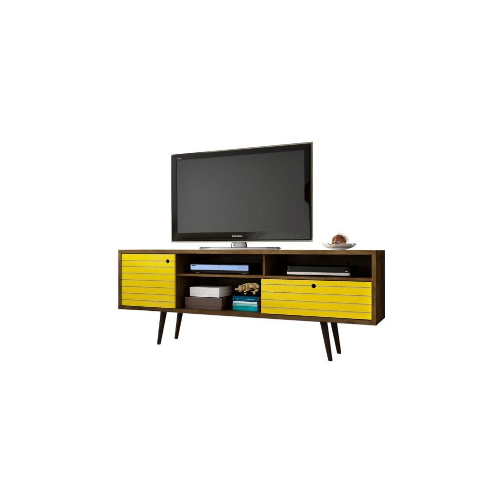 70.86 Liberty Mid Century Modern TV Stand Rustic Brown/Yellow - Manhattan Comfort