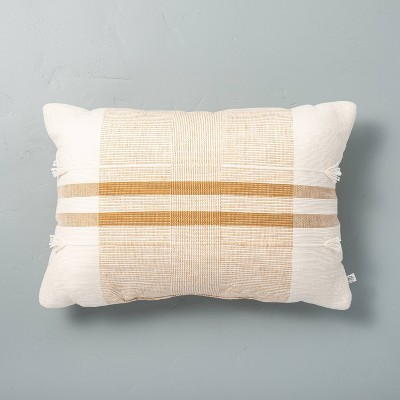"""14"""" x 20"""" Center Band Stripes Throw Pillow Yellow - Hearth & Hand™ with Magnolia"""