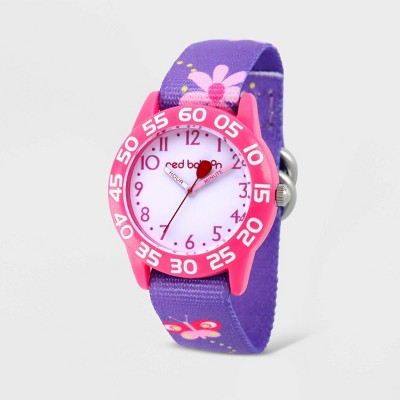 Girls' Red Balloon Plastic Time Teacher Hook and Loop Strap Watch - Purple