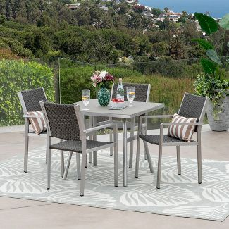 Alcott 5pc Aluminum and Wicker Dining Set - Gray - Christopher Knight Home