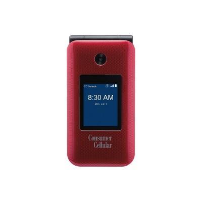 Consumer Cellular Postpaid Link II Flip Phone (8GB) - Burgundy
