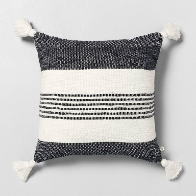 "18"" x 18"" Center Stripes Tassel Throw Pillow Railroad Gray - Hearth & Hand™ with Magnolia"