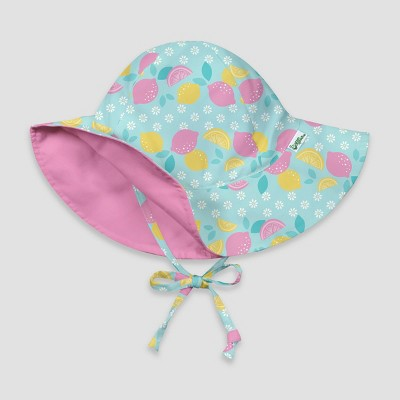 i play by green sprouts Baby Girls' Lemon Daisy Reversible Brim Swim Hat - Light Aqua/Light Pink 0-6M
