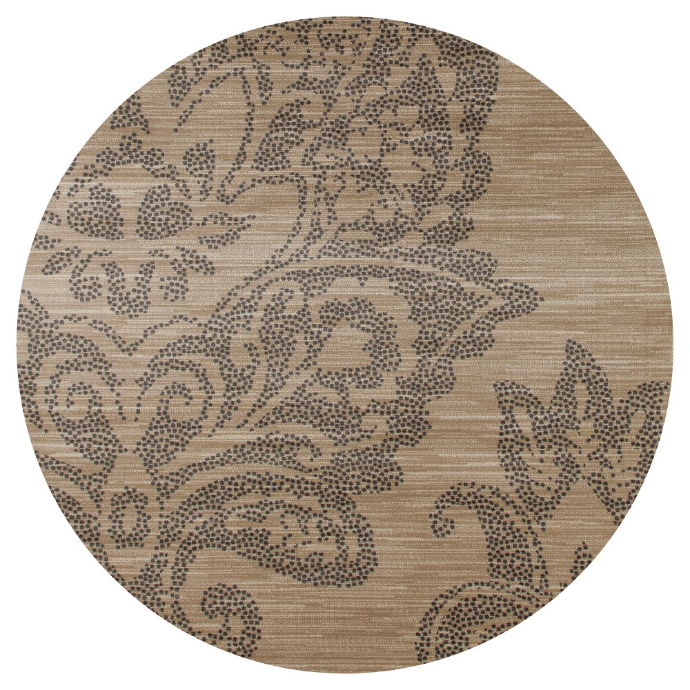 Image of Buff Beige Classic Woven Round Area Rug - (5') - Art Carpet