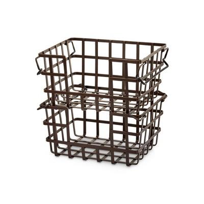 Iron Stacking U0026 Nesting Storage Baskets Bronze 2pc   Seville Classics :  Target