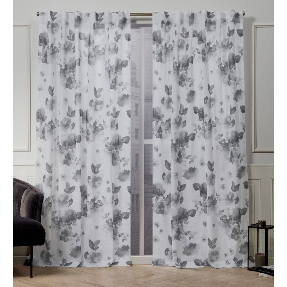 "Image of ""50""""x108"""" Kristy Back Tab Light Filtering Window Curtain Panels Gray - Nicole Miller"""