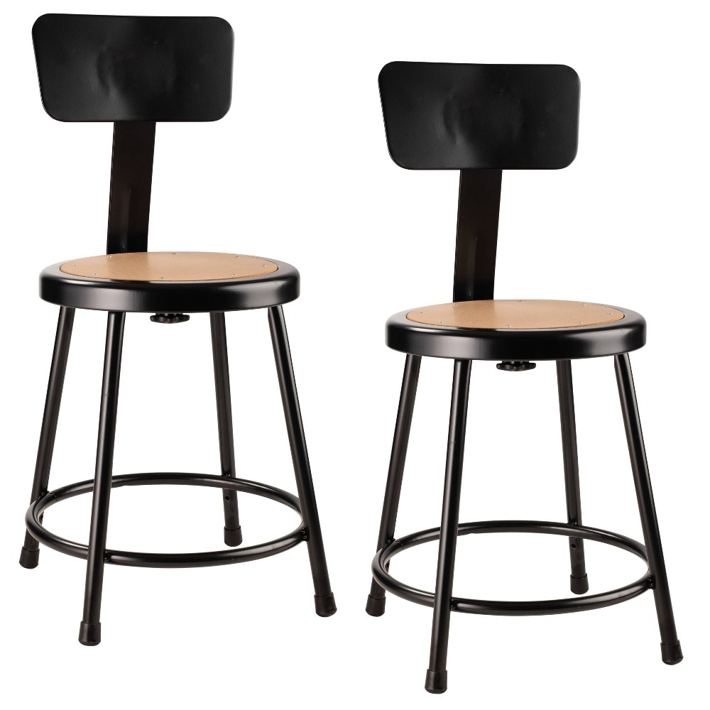 "Image of ""2pk 18"""" Heavy Duty Steel Stool with Backrest Black - Hampton Collection"""