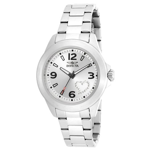 Women's Invicta 17932 Angel Quartz 3 Hand Silver Dial Link Watch - Silver - image 1 of 1