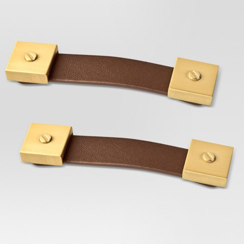Luxe Leather and Brass Pull 2pk - Threshold™ - image 1 of 1