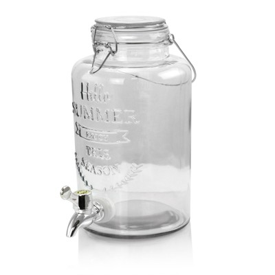 Gibson Home Bayfront Summer 2.5 Liter Mason Jar Glass Beverage Dispenser