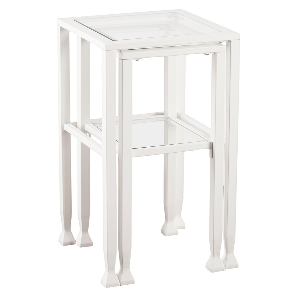 Jamel 2pc Nesting Table Set - White - Aiden Lane
