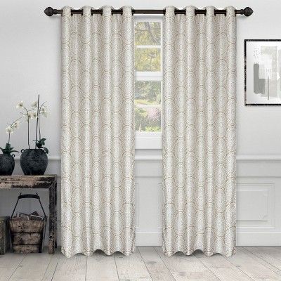 Floral Medallion Jacquard Grommet Curtain Panel Set by Blue Nile Mills