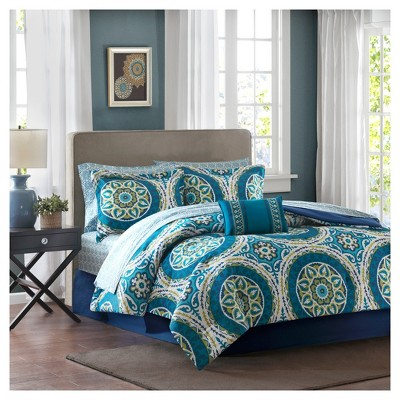 Blue Nepal Medallion Complete Multiple Piece Comforter Set (King)- 9 Piece