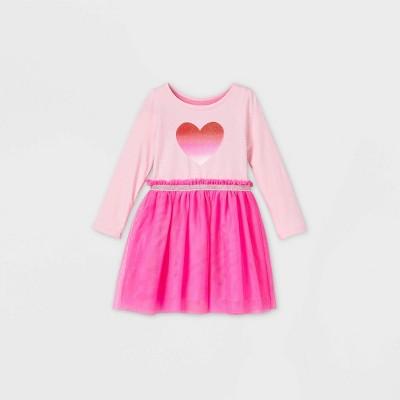 Toddler Girls' Sparkle Heart Tulle Long Sleeve Dress - Cat & Jack™ Pink 4T