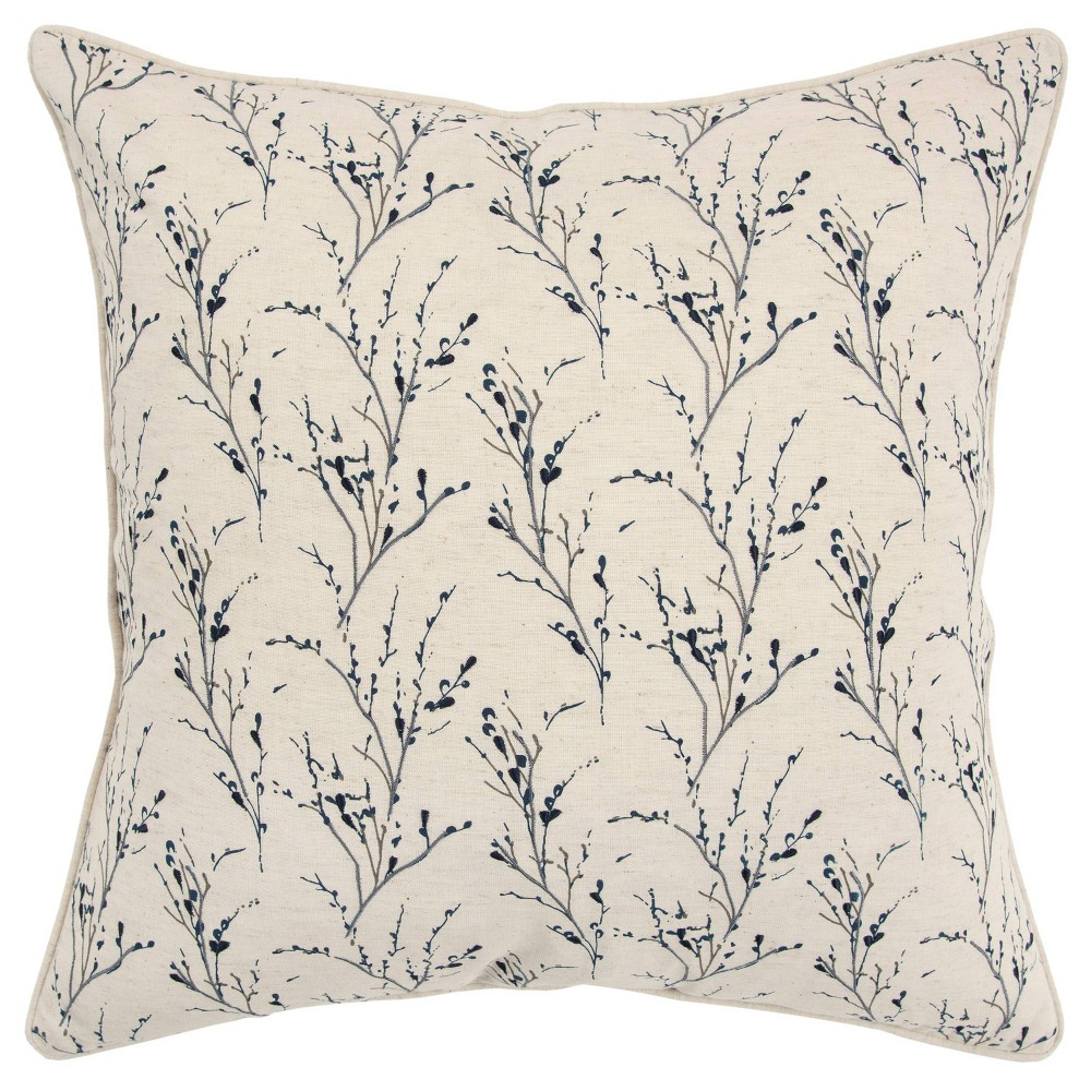 20 34 X20 34 Floral Polyester Filled Pillow Dark Blue Rizzy Home