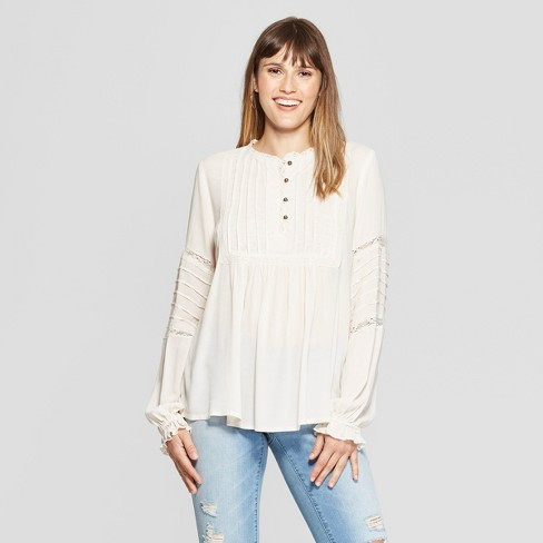 c22a86e3fbe00b Women's Long Sleeve Lace Trim Peasant Top - Knox Rose™ Ivory : Target
