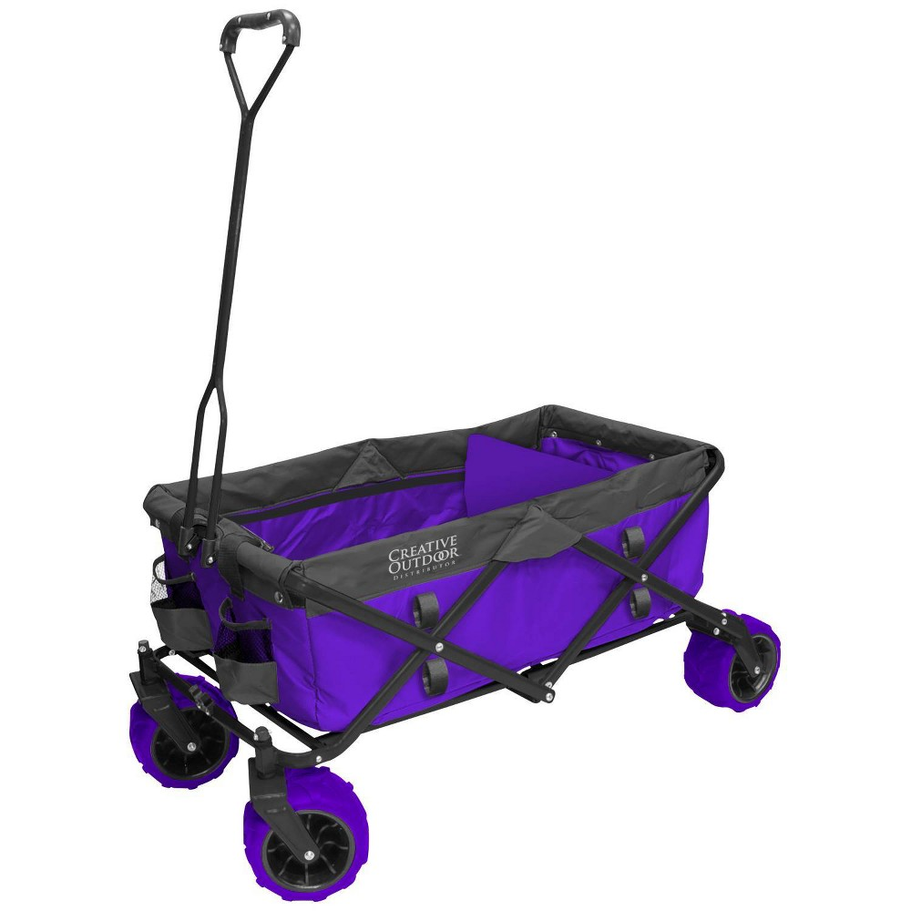 Image of Creative Outdoor Distributor All Terrain Folding Wagon - Purple Gray