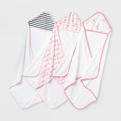 Baby Girls' 3pk Flamingo Hooded Bath Towel Set - Cloud Island™ Coral