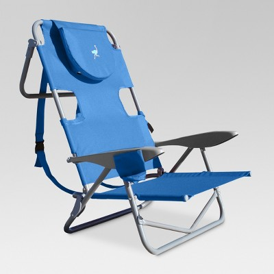 Ostrich Face Down Beach Chair w/ Backpack Straps - Blue