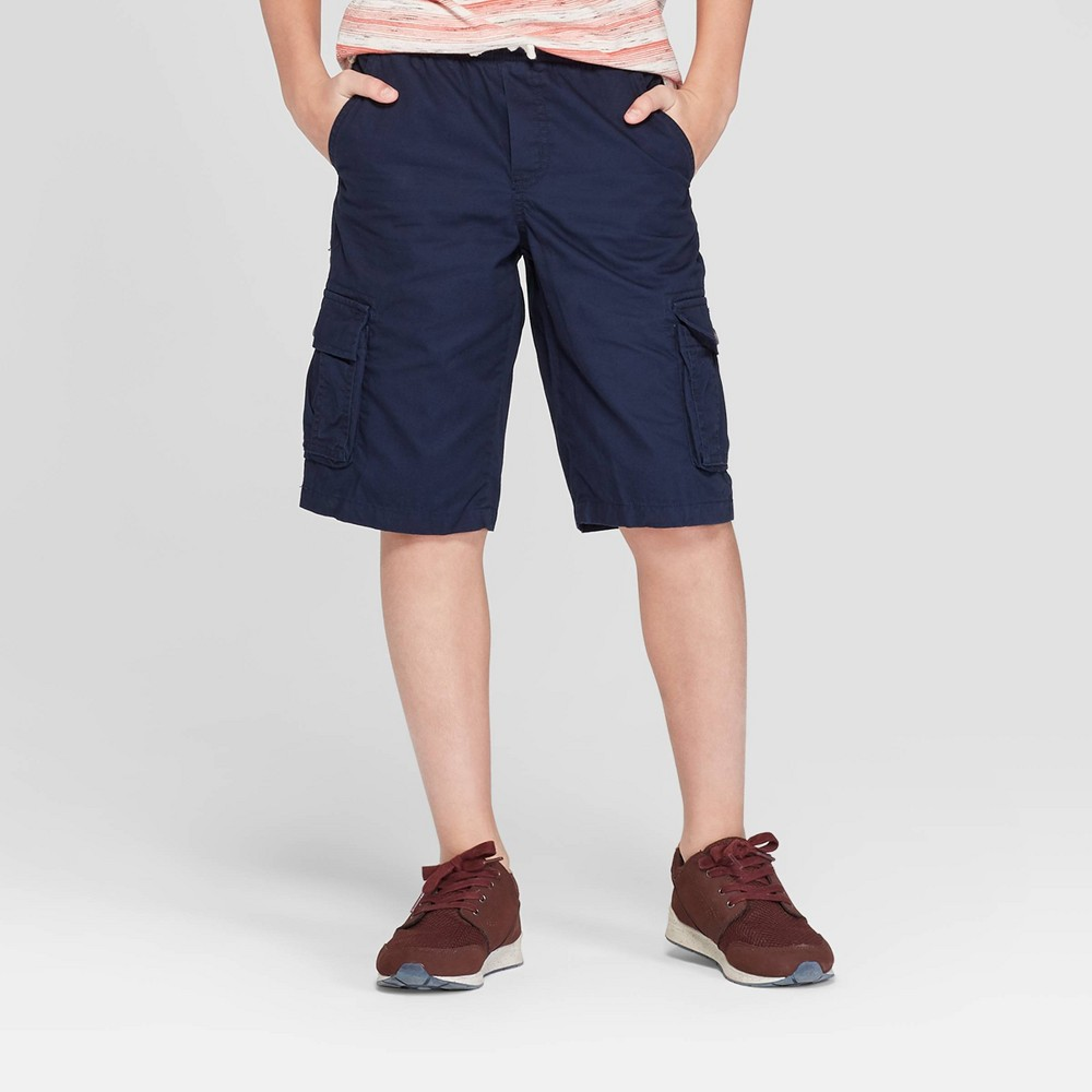 Image of Boys' Pull-On Cargo Shorts - Cat & Jack Navy L, Boy's, Size: Large, Blue