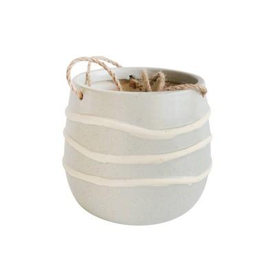 "7"" Ceramic Hanging Planter Light Green/White - Sagebrook Home"