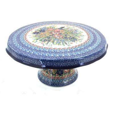 Blue Rose Polish Pottery Hummingbird Cake Plate