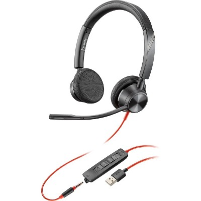 Plantronics Blackwire 3325 Wired Stereo Headset with Boom Mic (Poly) - Connect to PC / Mac via USB-A or mobile / tablet via 3.5 mm connector - Works with Teams, Zoom & more
