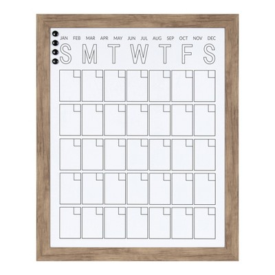 "27"" x 33"" Beatrice Vertical Framed Magnetic Dry Erase Monthly Calendar Brown - DesignOvation"