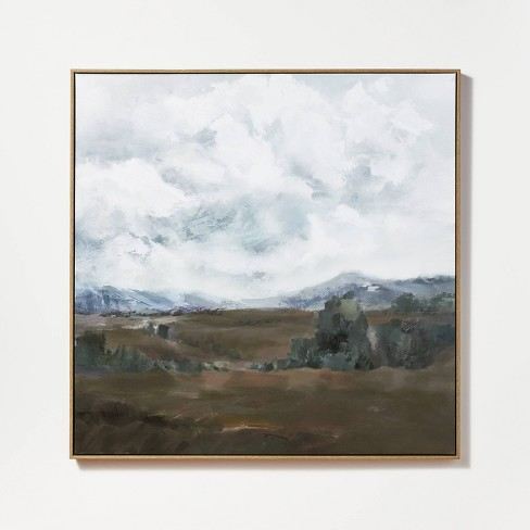"""33"""" x 33"""" Cloudy Sky Framed Wall Canvas Blue - Threshold™ designed with Studio McGee - image 1 of 4"""