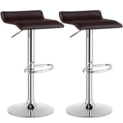 Costway Set of 2 Swivel Bar Stool PU Leather Adjustable Kitchen Counter Bar Chair Coffee