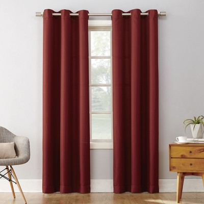 Montego Casual Textured Grommet Curtain Panel Wine 48 x63  - No. 918