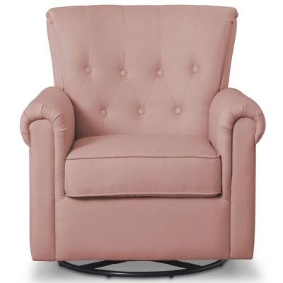 Delta Children Slim Harper Nursery Glider Swivel Rocker Chair -Blush