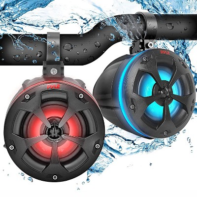 Pyle PLUTV44BTR Compact 2 Way Marine Grade 4 Inch Tower Speakers System Pair with RGB Lights and Remote Control for Power Sport Vehicles