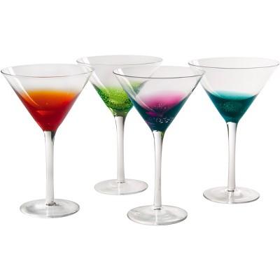 Artland Fizzy Assorted Color 11 Ounce Martini Bar Glass, Set of 4