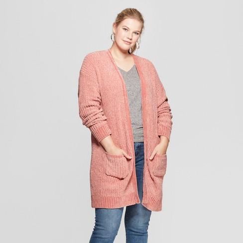 Womens Plus Size Chenille Cardigan Ava Viv Blush 1x Target