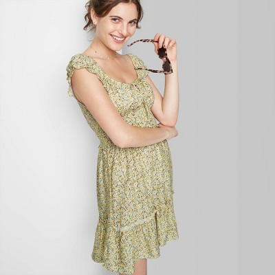 Women's Puff Short Sleeve Smocked Waist Fit & Flare Dress - Wild Fable™