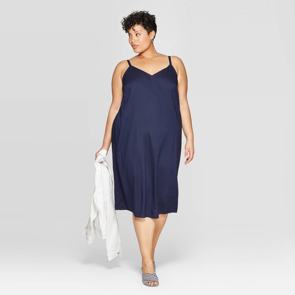 8429ff23e74ee0 Womens Plus Size Sleeveless V Neck Shift Dress Ava Viv Navy 2X Blue