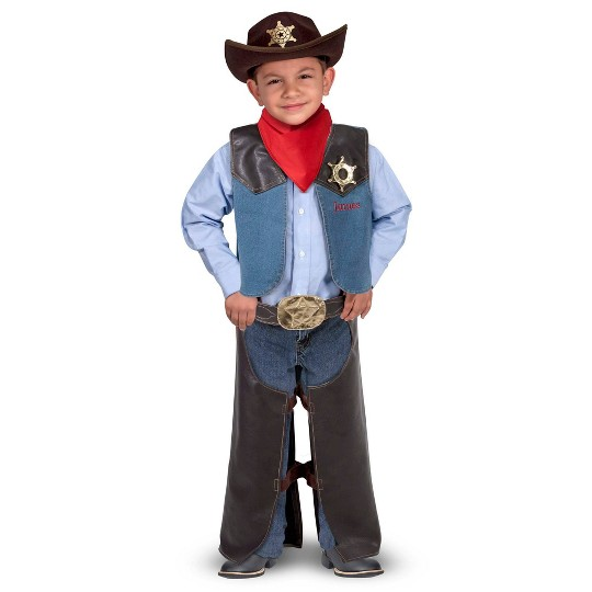 Melissa & Doug Cowboy Role Play Costume Set (5pc) - Includes Faux Leather Chaps, Adult Unisex, Blue/Gold/Red image number null