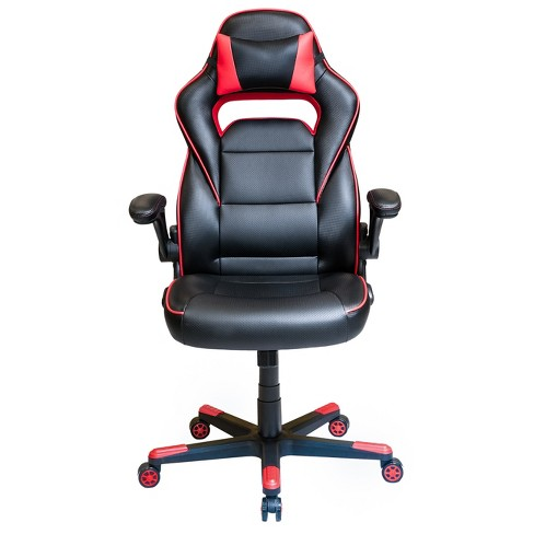 Height Adjustable Office Chair With Detachable Headrest Pillow And Flip Up Arms Red Techni Mobili