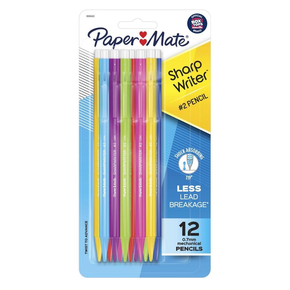 12pk 2 Mechanical Pencils Sharpwriter 0 7mm Multicolor Barrels Papermate