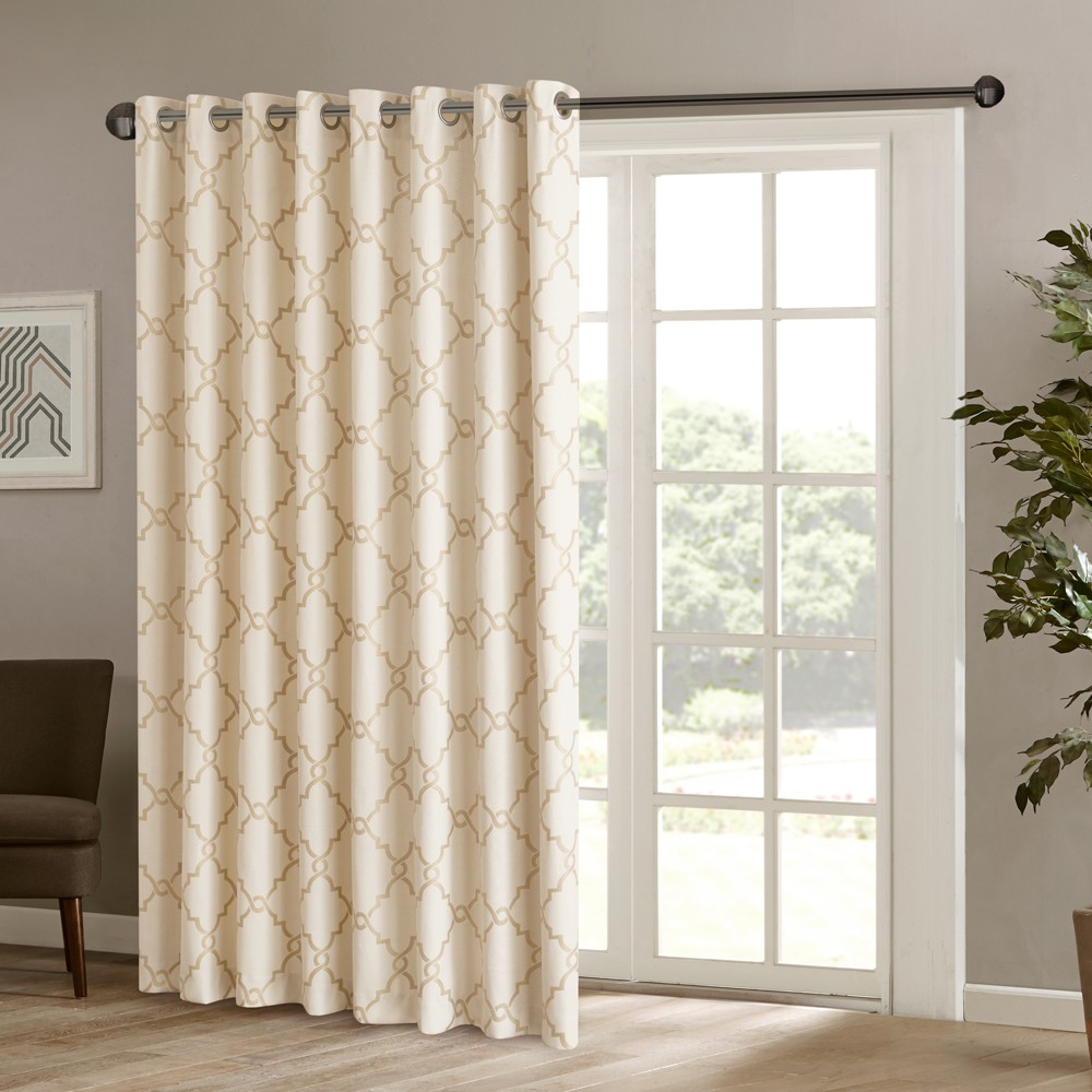 "Image of ""100""""x84"""" Sereno Fretwork Print Patio Blackout Curtain Panel Beige/Gold"""