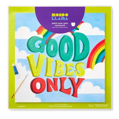 """20""""x20"""" Paint-Your-Own Canvas Kit Good Vibes Only - Mondo Llama™"""