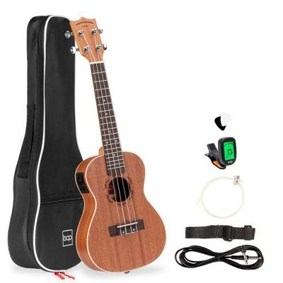 Best Choice Products 23in Acoustic Electric Concert Sapele Ukulele Starter Kit w/ Gig Bag, Built-in Tuner, Strap, Picks