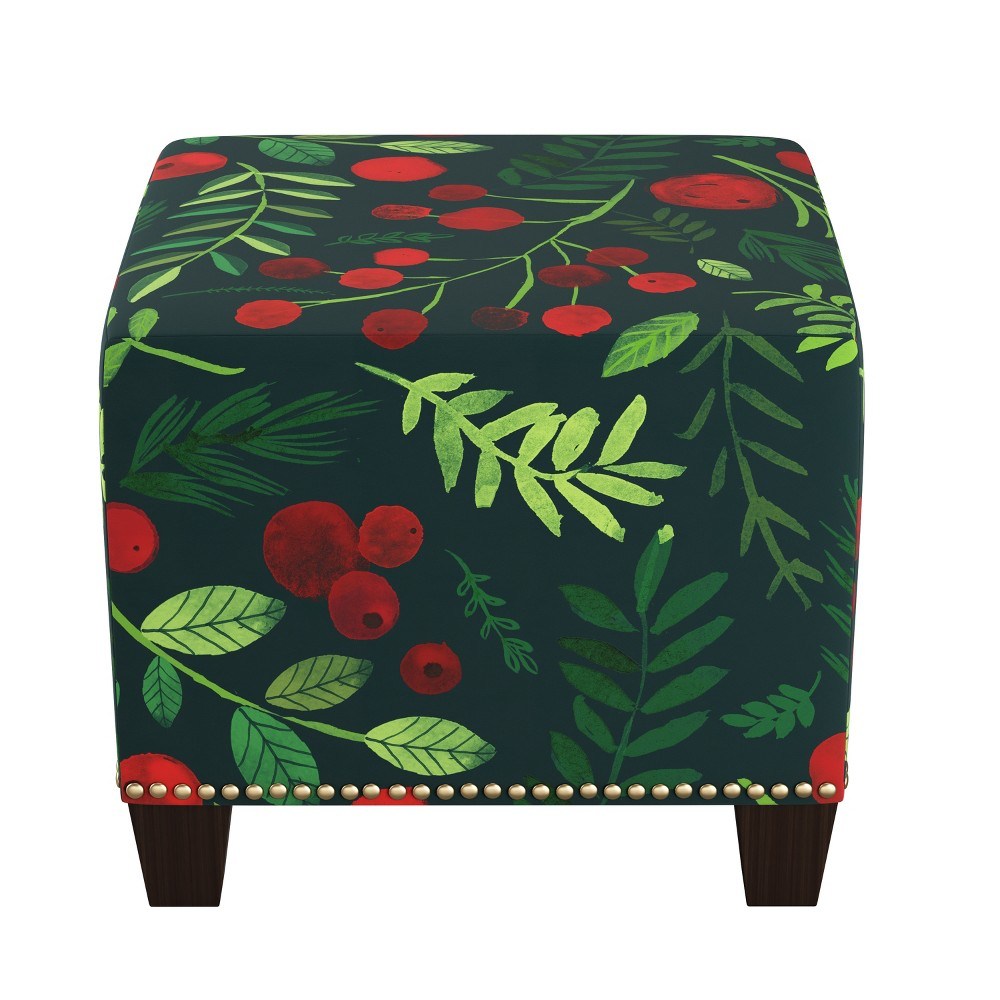 Swell Square Nail Button Ottoman Holly Evergreen Skyline Furniture Beatyapartments Chair Design Images Beatyapartmentscom