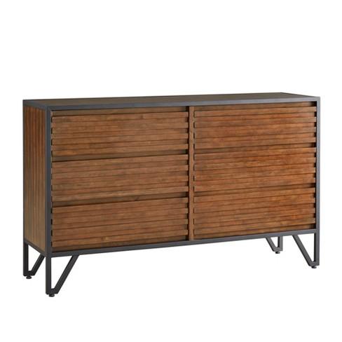Inspire Q Simone Metal Frame Stacked Cherry Wood Dresser