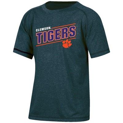 NCAA Clemson Tigers Boys' Short Sleeve Gray Heather Raglan T-Shirt