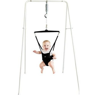 Jolly Jumper Baby Exerciser with Stand, Baby Bouncer for Active Babies, Safe Baby Jumper, White